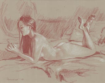 Signed Original Red & White Chalk Drawing: Nude Woman Resting - on 100% archival warm toned Cotton French Laid Paper by Onelio Marrero