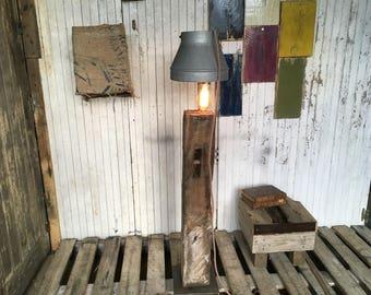 Floor lamp vintage wood and steel
