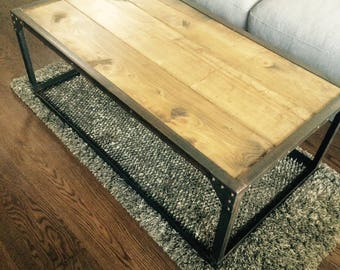 Industrial style furniture table coffee steel and wood