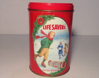 Vintage Lifesaver 1991 Limited Edition Holiday Keepcake Tin Christmas Decoration Candy Collectable Tin
