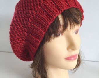 Womens Knit Beret, Cherry Red Hat, Handknit Hat, Warm Vegan Hat, Winter Knit Beret, Slouchy Tam, Gift Hat, Knitted Hat Gift, Valentines Gift