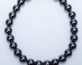 Golf Bracelet - Sterling Silver Beaded Magnetic Hematite
