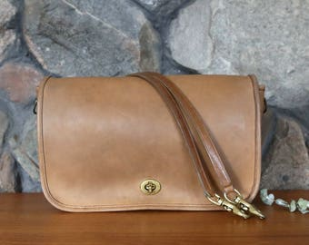 Vintage 1980s Coach Tabac Tan Flap Shoulder Bag with Turnlock Closure - Made in New York City