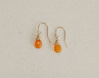 Fire Opal Earrings, Mexican Fire Opal, Gold Earrings, Fire Opal Jewelry, Gemstone Earrings, Metaphysical Jewelry, Women Gift, Valentine Day