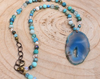 Blue Agate Boho Beaded Necklace