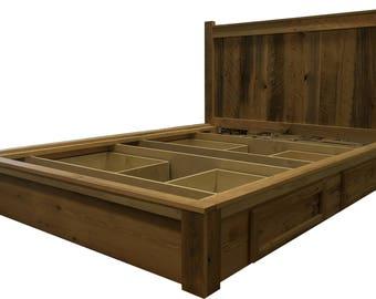Barn Wood Bedroom Furniture. Reclaimed Wood Bed  Platform Barn wood Furniture Storage Frame Modern Lodge