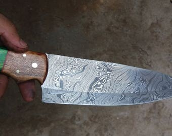 Custom hand made chef knife with forged steel and unique handle