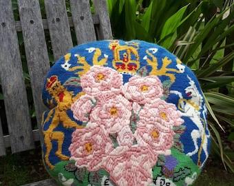 Vintage Silver Jubilee Handmade Tapestry Cushion 1977