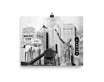Poster of the Landmarks of Birmingham, Alabama | Vulcan Sloss Furnace Alabama Theatre | UAB UA AU Bama
