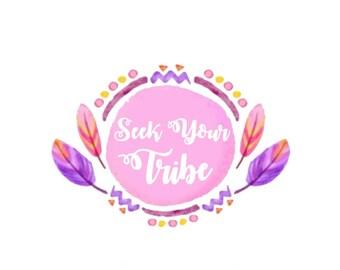 Tribal Logo / Indian Tribal Logo / Feathers Logo / Pink and Gold Design / Pink Feather Logo / Circle Feather Logo / Premade Logo Design