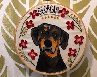Custom Pet Portrait Embroidery Hoop Art
