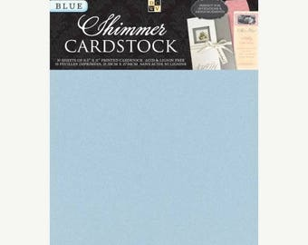 Summer Sale DCWV Cardstock Stack, Shimmer Blue, 10 Sheets, 8-1/2 x 11 inches