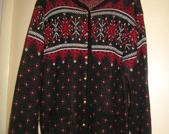 Women's Black,Red Ugly Christmas Cardigan Size L