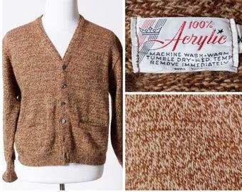 Vintage Men's Cardigan Sweater - Retro 70's Acrylic Large L Medium M