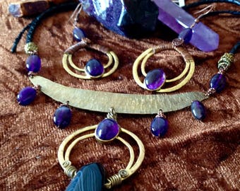Violet Flame Amethyst Goddess Necklace and Earrings Set