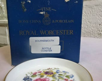 Royal Worcester Bottle Coaster/Bournemouth/Fine Bone China/Collectable/Vintage/1970s