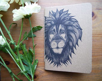 hand-bound A6 recycled notebook | lion illustration | handmade notebook | eco friendly notebook