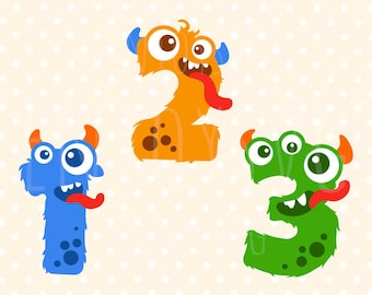 Monster Numbers svg Monster Numbers svg file Monster svg Funny Monsters svg Birthday SVG Cute Monster SVGs Baby SVG Silhouette Cricut CAMEO