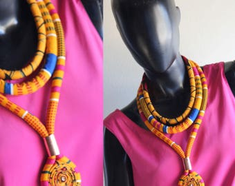 African Wax fabric Artisan Jewelry/ Multicolor Necklace/ African fabric necklace/Kente Necklace