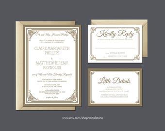 gold wedding invitation gold invite set royal gold invitation classic wedding invite - Royal Wedding Invitation