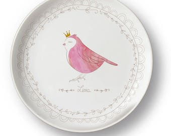 Personalized pink bird porcelain plate