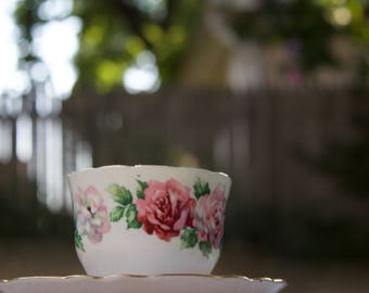 Vintage Pink Trinity Rose Crown Straffordshire English Teacup