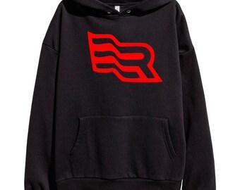Eminem Revival Flag Red Logo Hoodie Classic Hip Hop Rap Style Sweatshirt Revival Slim Shady Records Aftermath Entertainment Detroit