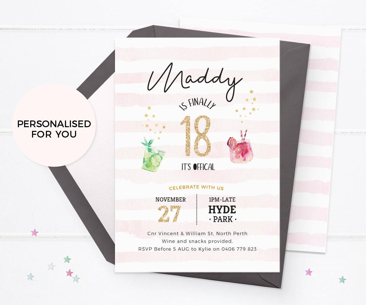 18th birthday invitations printable Cocktail party invitations