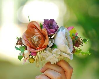 Orange white purple Hair comb Flower accessory Wedding hair comb Rustic wedding Bridal hair accessories Bridesmaid flower comb Boho wedding