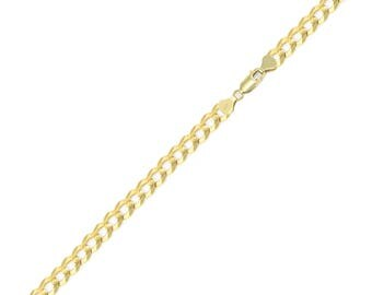 """14K Solid Yellow Gold Cuban Bracelet 4.0mm 7-9"""" - Curb Chain Link"""