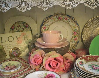 Fab Set 6 Vintage Trios 60's Retro baby pink swirled pattern Minton England