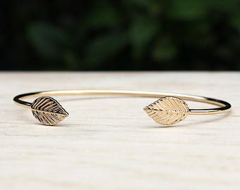Bangle gold plated leaf 750/1000