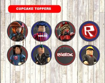 Roblox Chalkboard Cupcakes toppers, printable Roblox toppers, Chalkboard Roblox cupcakes toppers - Instant download