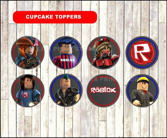 Roblox Chalkboard Cupcakes toppers printable Roblox toppers