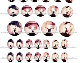 Series 429 - 40 Digital Images girl creations cabochons - sending by e-mail