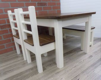 Handmade Kids Table Set /  Activity Table / Kids Dining Table / Classic / Wood / Farmhouse