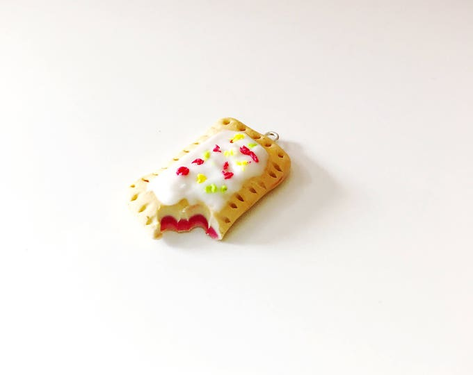 Strawberry Poptart Charm, Miniature Food Jewelry , Handmade Polymer Clay Food Charm, Progress Keeper, Zipper Pull, Braclet Charm