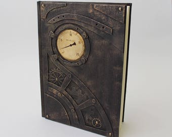 Exclusive steampunk notebook, brutal style, steampunk journal, handcrafted gift for him, personalized Father's Day gift