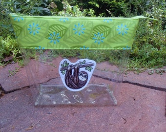 Knitting Clear Vinyl Project Bag with Zipper. Sloth Embroidered Patch. Makeup Bag. Travel Bag.