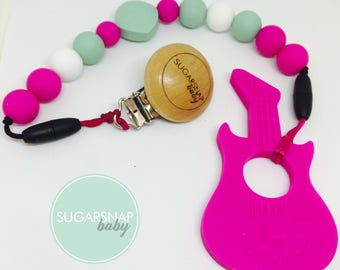 Fuchsia Silicone Guitar Teether - baby - toddlers - newborn - gift for baby - silicone beads - guitar teether - new baby gift - girl