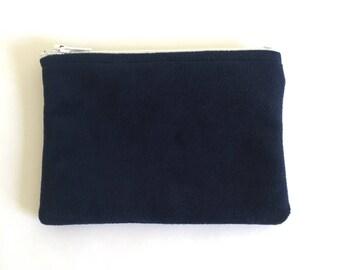 Navy Blue Velvet Pouch, Velvet Coin Purse, Dark Blue Change Purse, Zipper Pouch, Something Blue, Gift for Her, Soft Small Zipper Pouch