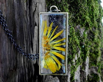 Floral Resin Necklace, Real Pressed Flower Pendant, Terrarium Jewelry, Nature Lovers Gift, Real Plant Open Back Resin Necklace, Yellow