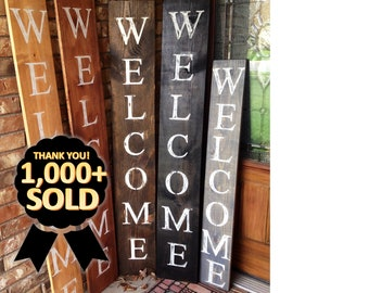 WELCOME SIGN, front door welcome sign, wood welcome sign, RUSTIC welcome sign, large welcome, porch welcome sign, welcome, vertical