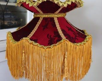 Shimla /Victorian/ Downton Abbey/ Lampshade/ Wine brocade/ 15 inches/Victorian style lampshade/ brocade/table lampshade/ ceiling/fringe