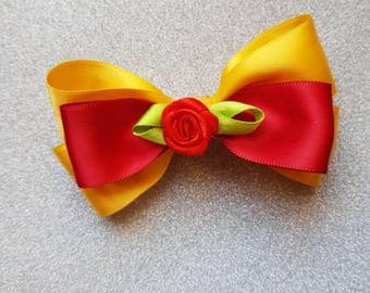 Beauty and the beast belle inspire hair bow