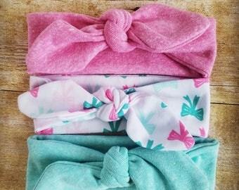 Baby girl headband set, stretchy headband, knot bow headband, cotton headband, head wrap, baby shower gift