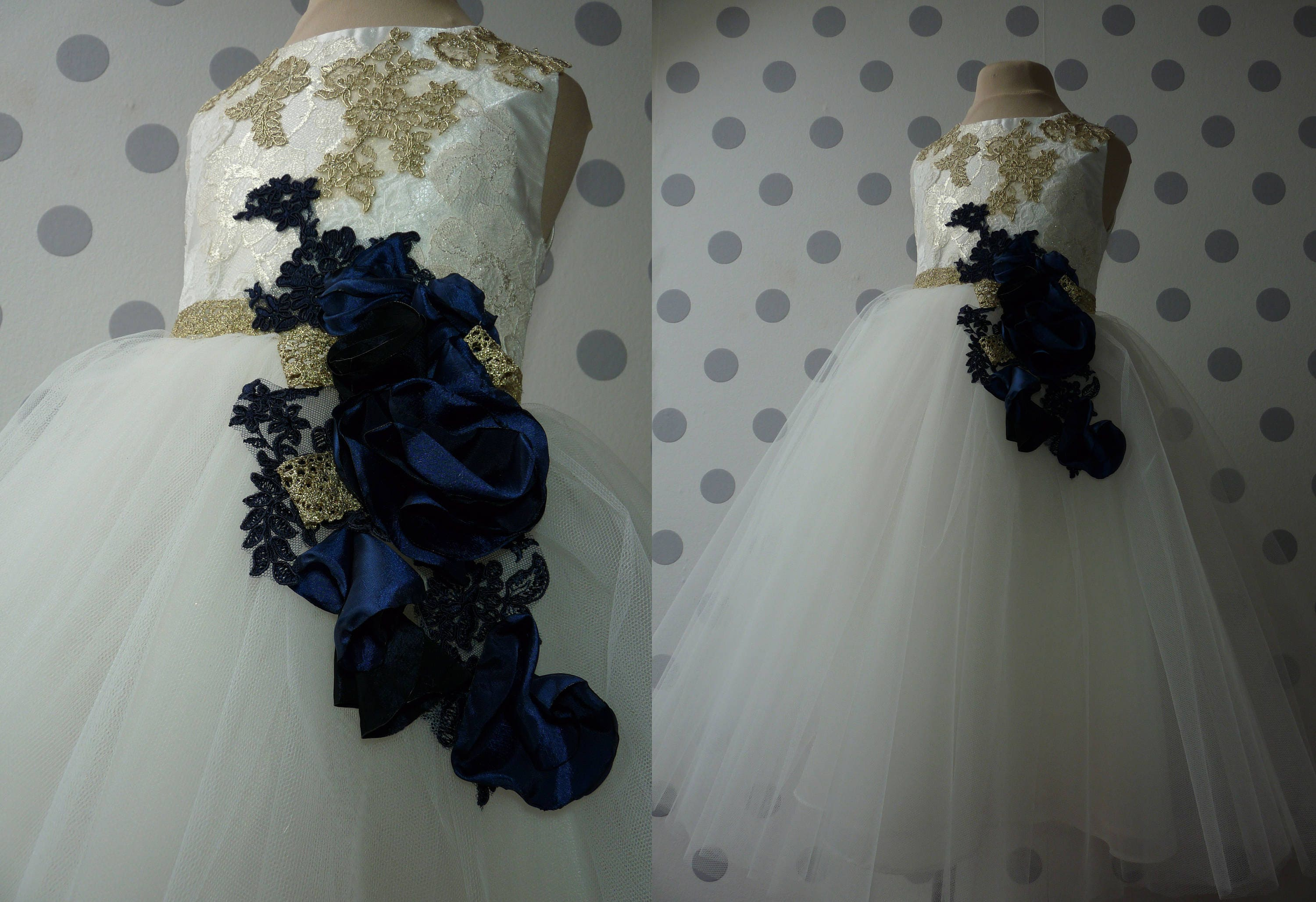Susan goldivory lace navy blue flowers tulle flower girl dress susan goldivory lace navy blue flowers tulle flower girl dress wedding bridesmaid dress with izmirmasajfo