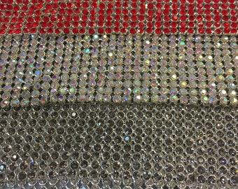 Rhinestone sheets / rhinestone fabric , 48 inches long and 20 inches wide stone size 3mm Flexible Beautiful Rhinestone Mesh Brass Base#84444