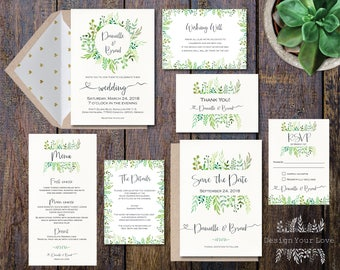 printable wedding invitation suite leafy greenery garden wreath green leaves invitation set watercolor floral wedding invitation suite