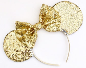 The Full Sequin (Gold) - Handmade Sequin Mouse Ears Headband CHOOSE YOUR BOW